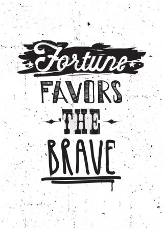 Illustration for Fortune favors the brave. Vector illustration, quote, underscore, doodles, scribble, stars - Royalty Free Image