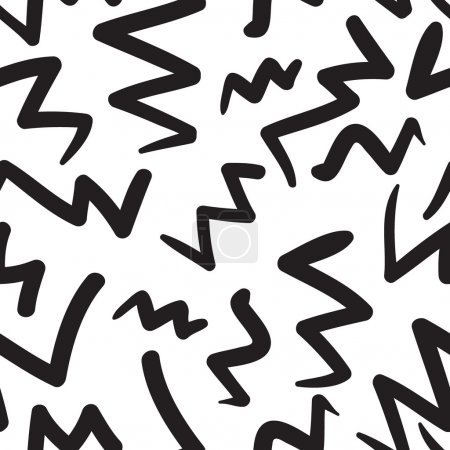 Vector hand-painted seamless pattern with zig-zag, abstract dood