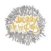Merry Christmas calligraphy Handwritten modern golden brush lettering with Sunburst Palooza Hand drawn vector