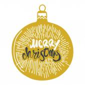 Merry Christmas calligraphy on Christmas ball Handwritten modern golden brush lettering with Sunburst Palooza Hand drawn vector