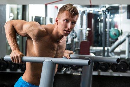 man during workout in gym