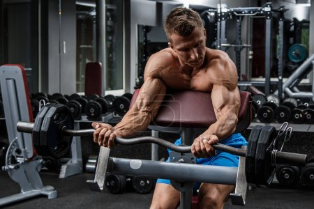 Photo for Muscular man training with barbell in gym - Royalty Free Image