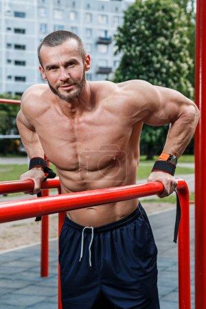 Man during workout on street