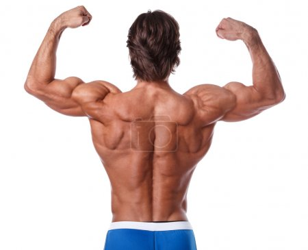 Photo for Man showing muscular back over white background - Royalty Free Image