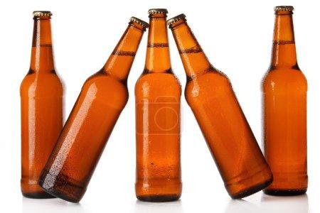 Photo pour Bouteilles de bière froide sur fond blanc - image libre de droit