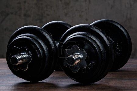 Heavy black dumbbells