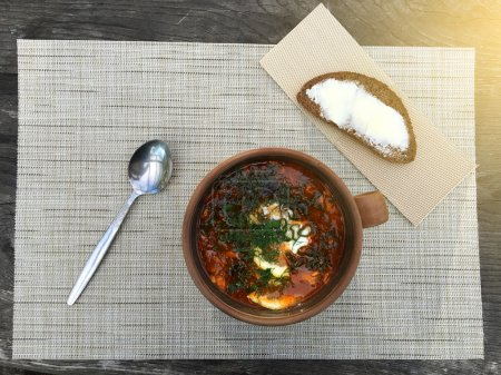 Photo for Spicy fish soup on the table - Royalty Free Image