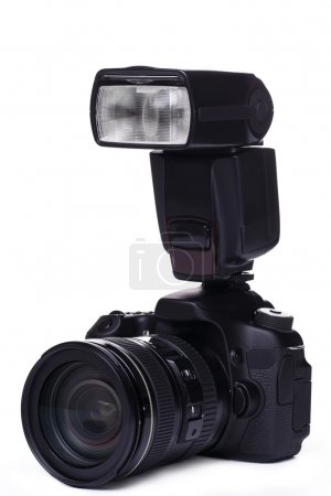 DSLR camera with flash