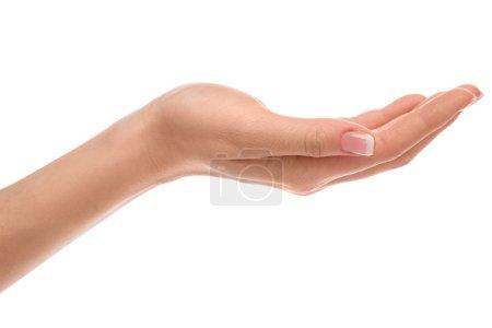 Photo pour Belle main avec manucure française sur fond blanc - image libre de droit