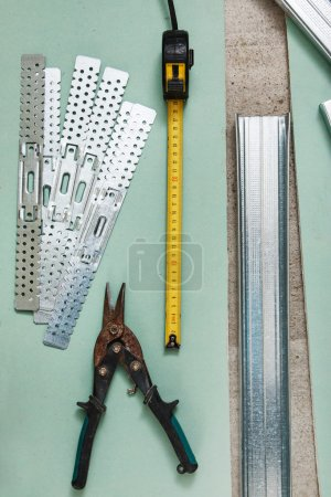 Scissors for metal and measure tape