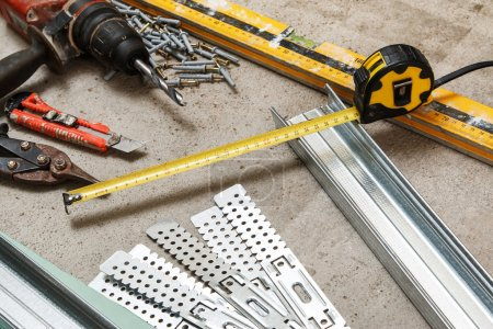Instruments for build a plasterboard walls