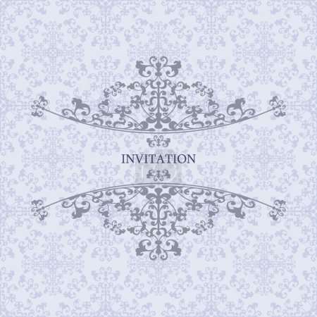 Tracery on a blue background design of the invitation.