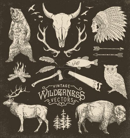 Illustration pour Illustration vectorielle Wilderness Vintage Vintage Wilderness Vector Illustration Set - image libre de droit