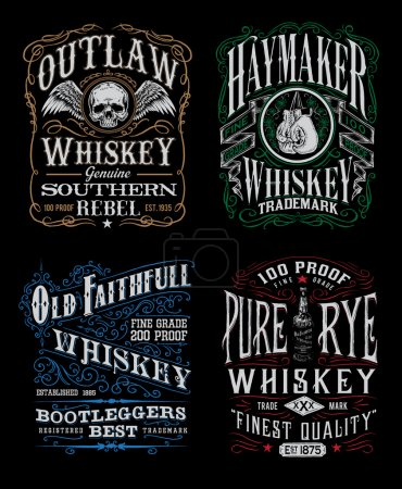 Photo pour Vintage Whiskey Label T-shirt Graphic Set Vintage Whiskey Label T-shirt Graphic Set - image libre de droit