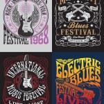 Vintage Rock Poster T-shirt Design Set Vintage Roc...