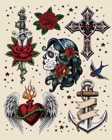 Illustration for Tattoo Flash Illustration Set Tattoo Flash Illustration Set - Royalty Free Image