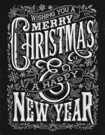 Vintage Christmas and New Year Chalkboard Typography Lockup