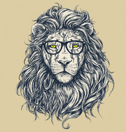 Illustration for Hipster lion vector illustration. Glasses separated.  Hipster lion vector illustration. Glasses separated. - Royalty Free Image