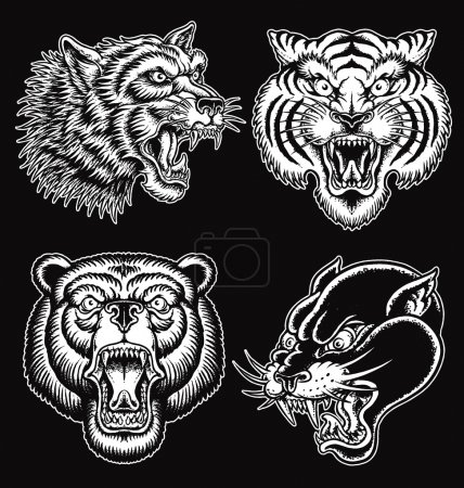 Black and White hand drawn tattoo style animal faces