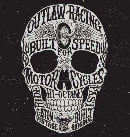 Motorcycle inspired typography skull vector illustration.
