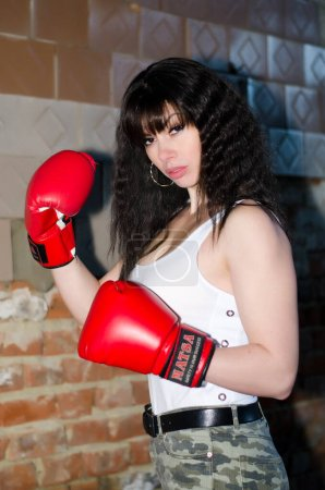 Photo for Boxer woman preparing for battle - Royalty Free Image