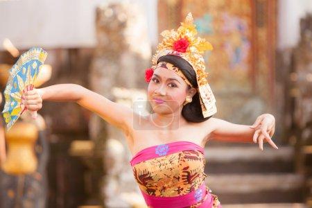 BALI - June 27 : girl performing traditional Indonesian dance at