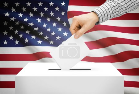 Voting concept - Ballot box with national flag on background - United States