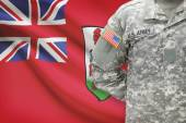 American soldier with flag on background - Bermuda