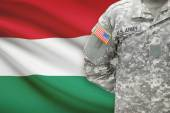 American soldier with flag on background - Hungary