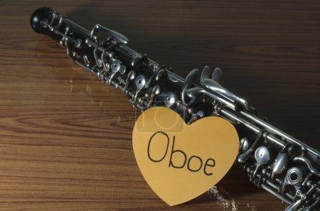 oboe on wood background