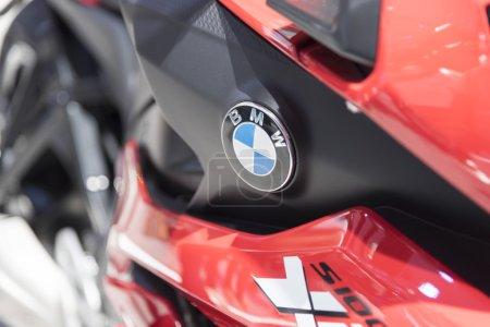 Photo for BANGKOK,THAILAND - APRIL 4 : BMW big bike  show on April 4,2015 at the 36th Bangkok international motor show in Thailand.Close up on BMW logo. - Royalty Free Image