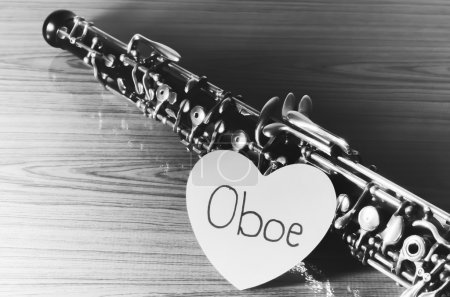 oboe on wood background black and white color tone style