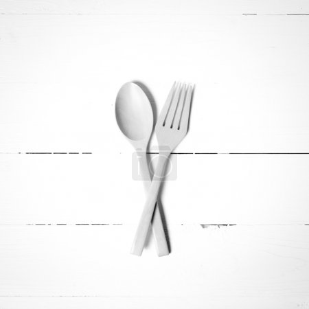 Wood spoon and fork black and white tone