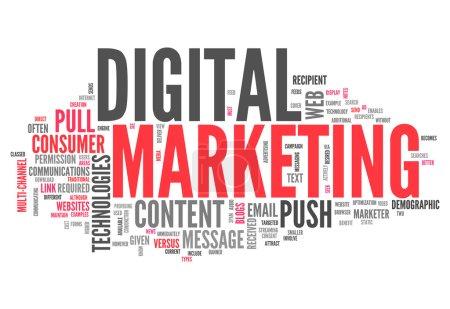 Photo pour Cloud Word avec des balises liées au marketing numérique - image libre de droit