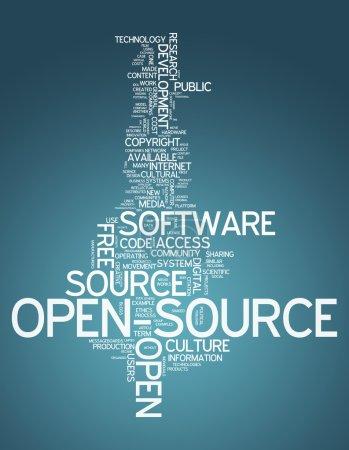 Photo pour Word Cloud with Open Source related tags - image libre de droit
