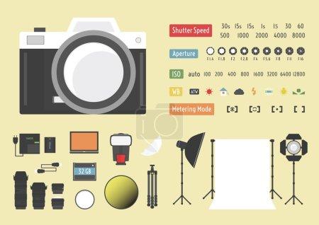 Illustration pour Infographie caméra, photographie hybride, kit studio, autres accessoires - image libre de droit
