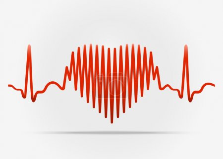 Red heart with the transition to ECG with shadow. ...