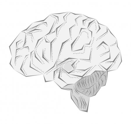Creative idea of the human brain in a metal sheath