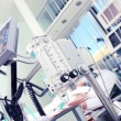 Medical equipment in the foreground of the patient...