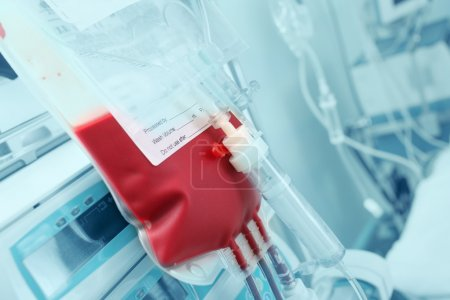 Blood for transfusion on a background of hardware in the intensi