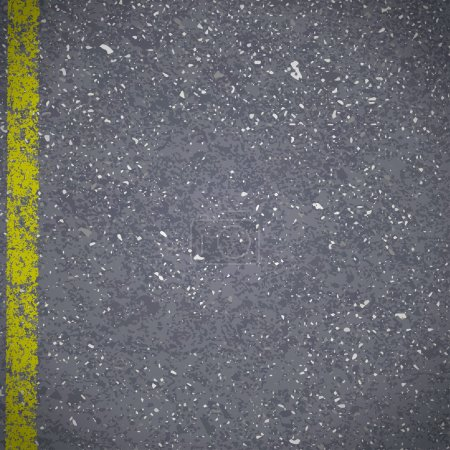 Asphalt road pavement with cracked yellow marking