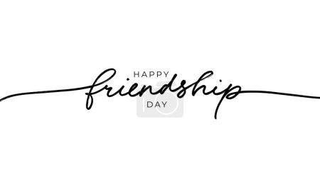 Illustration pour Happy Friendship day vecteur typographique design. Calligraphie moderne dessinée à la main. Lettres inspirantes sur l'amitié. Carte de voeux, affiche, imprimé tee-shirt, joyeuses fêtes d'amitié. - image libre de droit