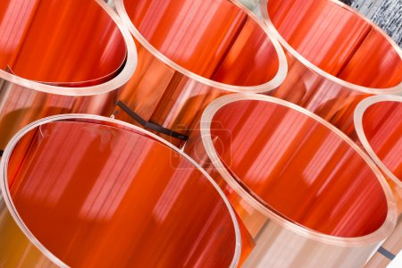 closeup of copper sheet in rolls