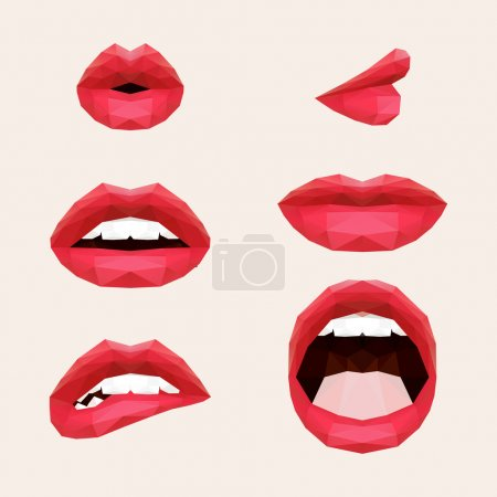 Illustration for Polygonal mouth and lips. Vector illustration - Royalty Free Image