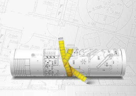 Rolled drafs. Vector illustration
