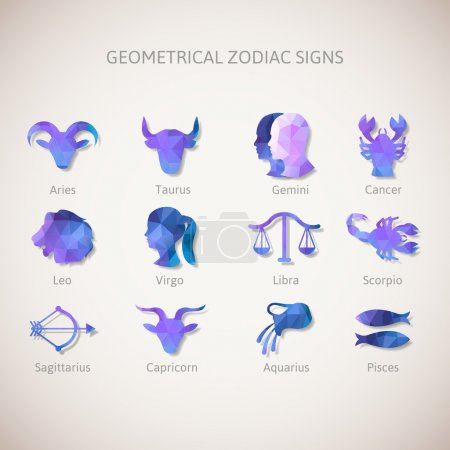 Illustration for Geometrical zodiac signs. Vector illustration - Royalty Free Image