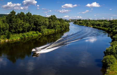 Speed boat in the river.