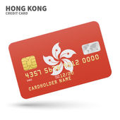 Credit card with Hong Kong flag background for bank, presentations and business. Isolated on white