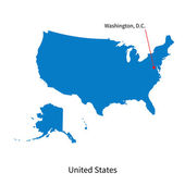 Detailed vector map of United States and capital city Washington