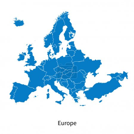 Illustration for Detailed vector map of Europe Political map with borders - Royalty Free Image